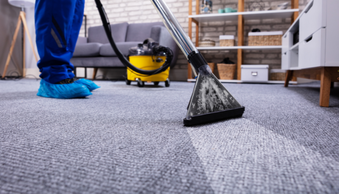 A professional carpet cleaner is cleaning a grey carpet in a house.